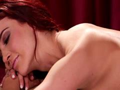 Busty milf massaging alluring lesbian babe
