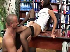 Good looking girl pleases her boss