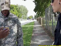 Soldier dude gets arrested and fucked by perverted milf cops