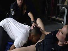 Busty black dude bangs two female cops until their cunts start pulsati