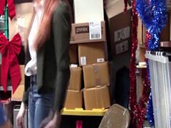 Desperate Shoplifter Teen Krystal Orchid rides LPs cock