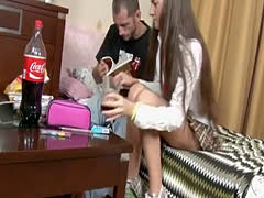 Russian Schoolgirl Rests From Studying