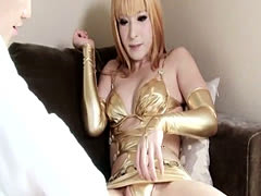 Newhalf japanese ladyboy in lingerie fucking