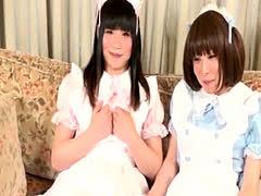 Japanese ladyboy twosome with stockinged tgal