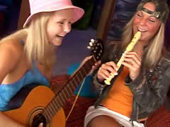 Lesbian smelly foot worship Two jummy platinum-blonde lesbians