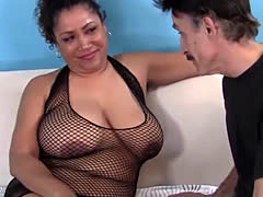 Fat Ebony Mistress Fucks Skinny Old Man