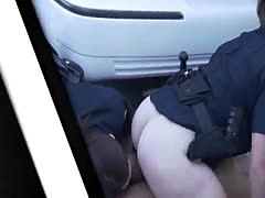 Two female cops with fat butts fuck in outdoor threesome with black th