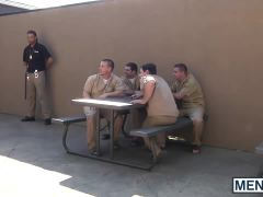 : Gay guys have an orgy in the prison yard