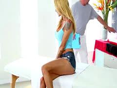 Massaged tattooed babe