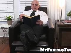 Bald Mature Gay Guy Likes To Taste Socks Before Licking Feet