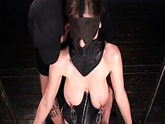 Slave gets natural huge tits pulled for nipples