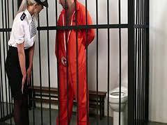 Busty british cop cocksucking prisoner