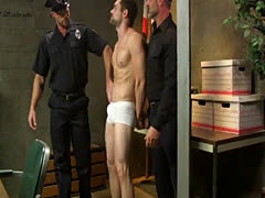 Police officer edging submissive prisoner