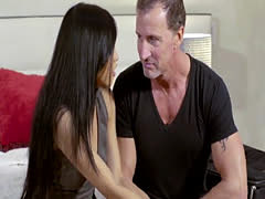Asian stepdaughter riding