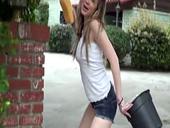 Car washing teenager fucked pov