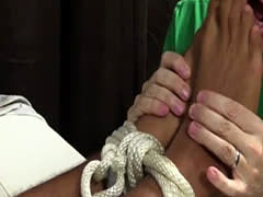 Teen hairy leg gay sexy boys Mikey Tied Up & Worshiped