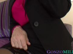 Busty MILF Nina Hartley facialized after riding black dick