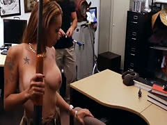 Big round boobs lady sucks off and screwed by pawn man
