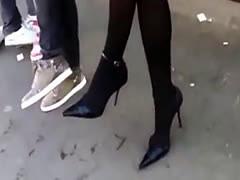- Pantyhose, high heels and short skirt at bus-stop/><br/>                         <span class=