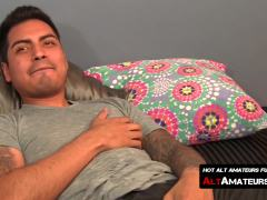 Long dick stroking and balls playing with horny Latino