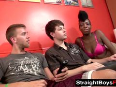 Ebony beauty pounded by straight lads in a threesome