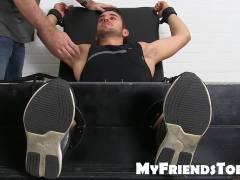 Two guys have freaky feet play with a tied up gay stud